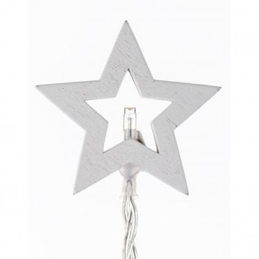 Dekoratyvinių medinių LED žvaigždučių girlianda, 110 cm
