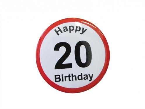 """Prisegamas ženkliukas """"Happy Birthday 20"""""""