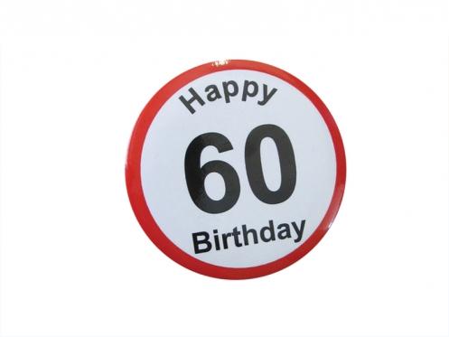 """Prisegamas ženkliukas """"Happy Birthday 60"""""""