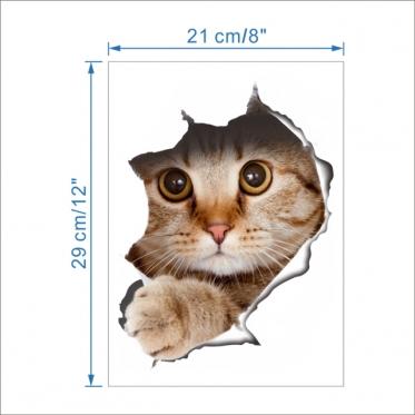 "3D lipdukas sienų dekoravimui ""Katė"", 21 x 29 cm"
