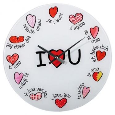 """Stiklinis sieninis laikrodis """"I Love You"""""""