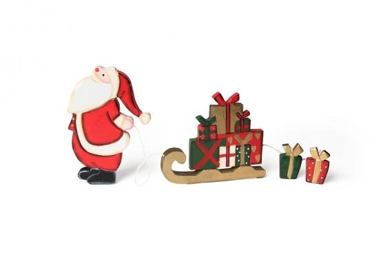 """Priklijuojama medinė """"Kalėdų senelio"""" figūrėlė, 15,5 x 1,7 x 25 cm"""