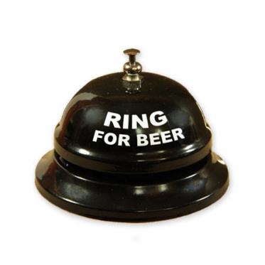"Nerūdijančio plieno mechaninis skambutis ""Ring for Beer"", 8,5 x 5,5 cm"