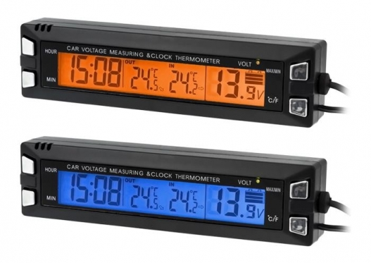 Trys viename, temperatūros, laiko ir akumuliatoriaus įkrovos skydelis automobiliui