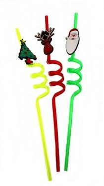 Plastikinis Kalėdinis šiaudelis, 1 vnt