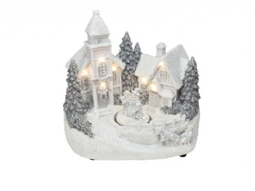 """Dekoracija """"Kalėdų miestelis"""" su judančiu elementu, 19 cm"""