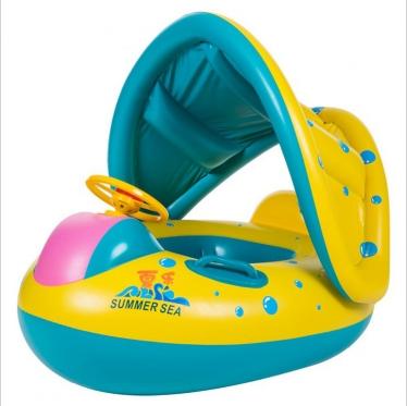 """Pripučiamas vaikiškas vandens ratas su stogeliu """"Mašinėlė"""", 65 x 73 cm"""