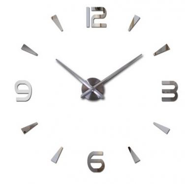 Keturių skaitmenų sieninis laikrodis, Ø 80 - 120 cm (sidabrinis)