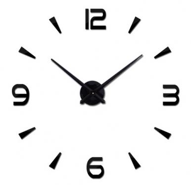 Keturių skaitmenų sieninis laikrodis, Ø 80 - 120 cm (juodas)