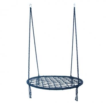 Pakabinamas apvalus tinklinis hamakas, Ø 80 cm (mėlynas)