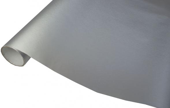 Metalo imitacijos termoplastinė plėvelė automobilio kėbului, 1,52 x 30 m (sidabrinė)