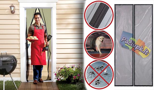 """Nuo uodų saugančios durų užuolaidos """"InnovaGoods"""", juodos, 209 x 99 cm"""