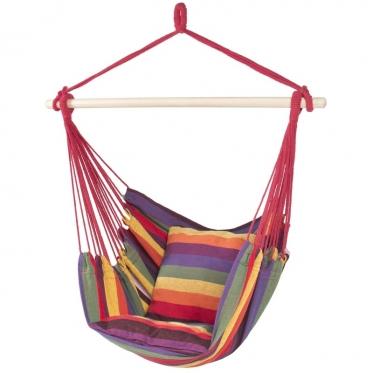 Pakabinamas braziliškas hamakas su pagalvėlėmis, 100 x 100 cm (įvairiaspalvis)