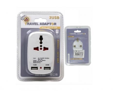 """Generic"" universalus kelioninis adapteris su USB jungtimis"