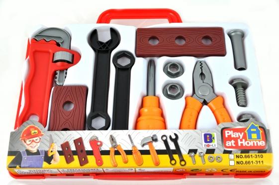 Žaislinis meistro įrankių rinkinys lagamine