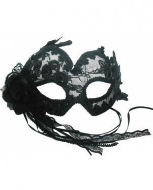"""Veido kaukė """"Venecija"""" su juoda rože"""