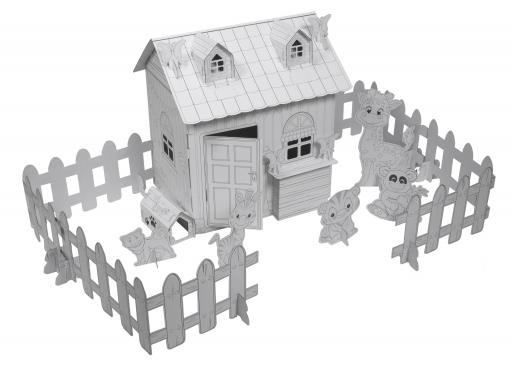 Kartoninis namas dažymui + naminiai gyvūnėliai