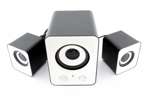 USB garso kolonėlės, 2.1 sistema (baltos)