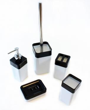 Vonios kambario rinkinys, 5 vnt (baltas, juodas)