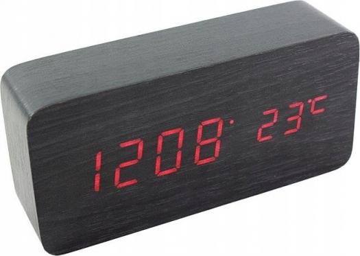 LED skaitmeninis laikrodis žadintuvas, (juoda)