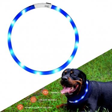LED antkaklis, 70 cm (mėlynas)