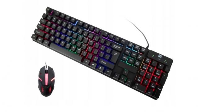 LED klaviatūra ir pelė