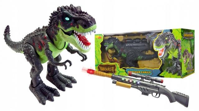 """Interaktyvus žaislas """"Dinozauras"""" ir šautuvas su lazeriniu taikikliu"""