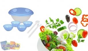 Plastikinių indų komplektas salotoms (galimi spalvų pasirinkimai)