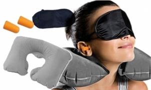 Rinkinys patogioms kelionėms - pagalvėlė, akių kaukė ir ausų kamštukai