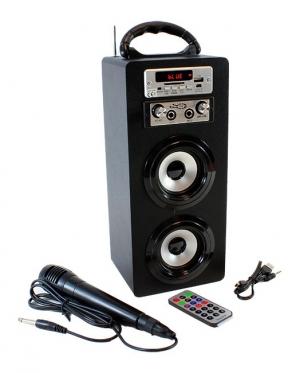 Karaoke garso kolonėlė ir mikrofonas