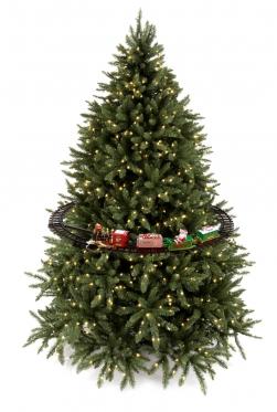 Kalėdinės eglutės traukinio bėgiai ir traukinukas