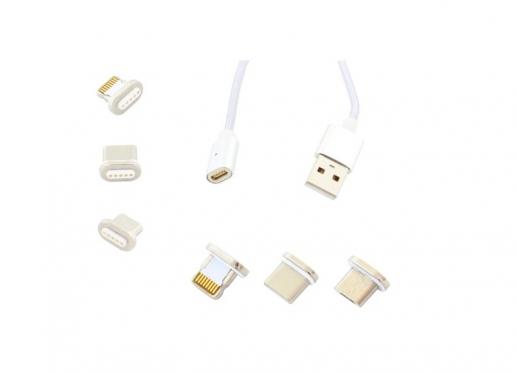 Universalus išmaniųjų įrenginių USB magnetinis įkrovimo laidas, 1 m (pilkas)