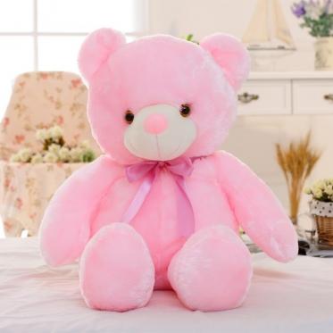 """LED naktinė lempa - pliušinis žaislas """"Meškiukas"""", 45 cm (rožinis)"""