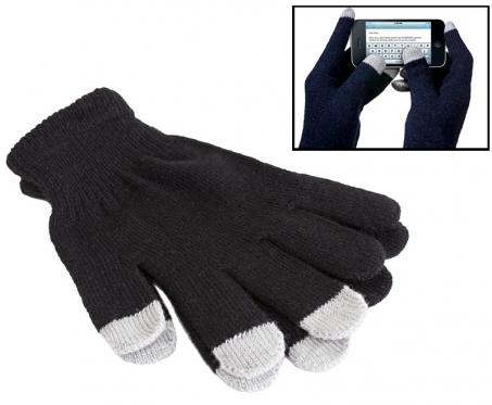 Pirštinės su pirštų galiukais skirtais naudoti mobiliesiems telefonams, juodos