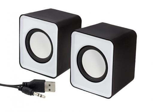 USB garso kolonėlės, 2.0 sistema (baltos)