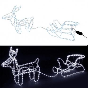 """Kalėdinė 3D dekoracija """"Elnias su rogėmis"""", 120 x 23 x 48 cm"""