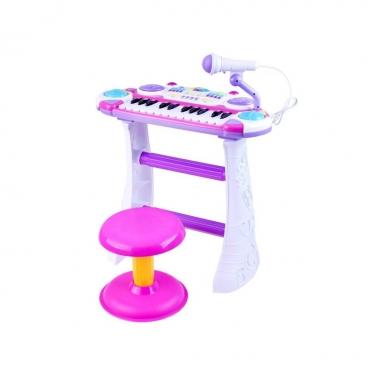 Žaislinis pianinas - sintezatorius su mikrofonu ir kėdute, 45 x 47 x 22 cm