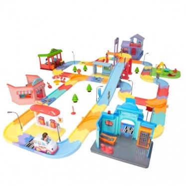 Žaislinė miesto automobilių trasa, 133 x 94,4 x 26 cm