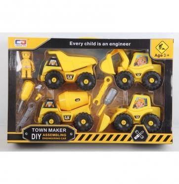 Žaislinis statybinės technikos rinkinys, geltonas