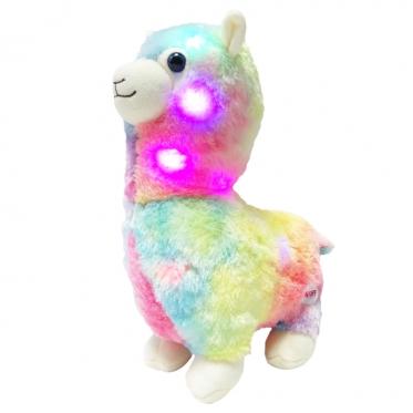 """LED naktinė lempa - pliušinis žaislas """"Lama"""", 35 x 25 x 13 cm (įvairiaspalvis)"""