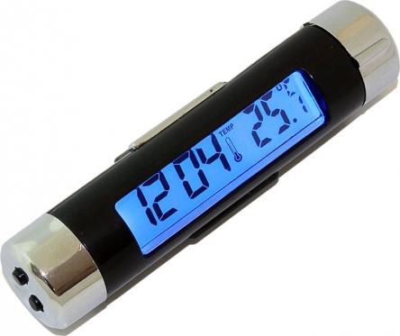 Elektroninis automobilio laikrodis ir termometras, juodas