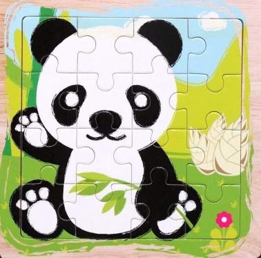 """Medinė dėlionė """"Panda"""", 16 dalių"""