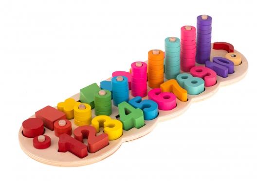 Edukacinis formų ir skaičių žaidimas, 44 x 15 x 10 cm