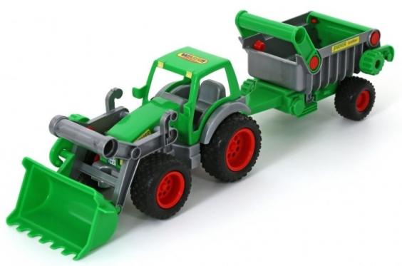 Žaislinis traktorius su puspriekabe, 58 x 14,5 x 16,5 cm