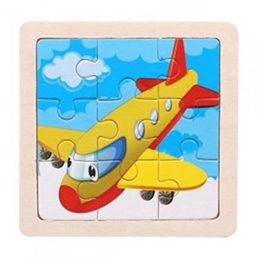 """Medinė vaikiška dėlionė """"Lėktuvas"""", 11 x 11 cm"""