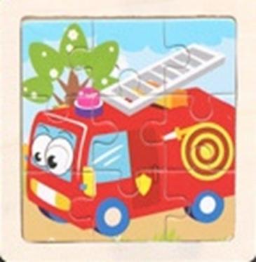 """Medinė vaikiška dėlionė """"Autobusas"""", 11 x 11 cm"""
