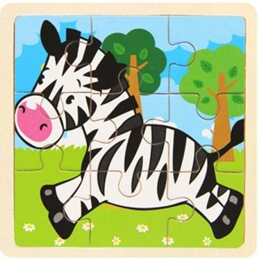 """Medinė dėlionė """"Zebras"""", 9 dalių"""