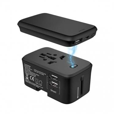 Universalus adapteris su nešiojamuoju įkrovikliu, 9 x 5,4 x 5.4 cm