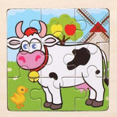 """Medinė vaikiška dėlionė """"Karvutė"""", 11 x 11 cm"""