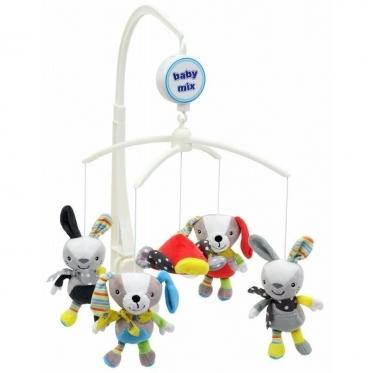 """Pliušinių žaislų karuselė kūdikiams """"Baby Mix Zuikučiai"""""""